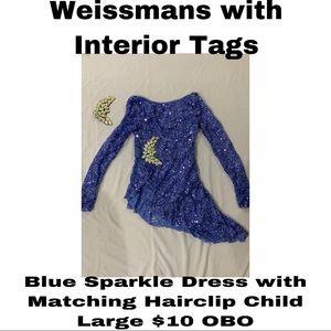 Weissmans Blue Sparkle Dress with Hair Clip
